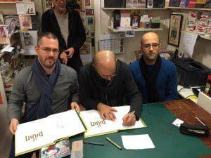 Boaz Lavie, Asaf Hanuka e Tomer Hanuka ad Angoulême 2015.